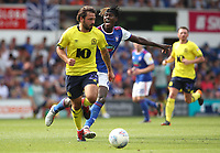 Blackburn Rovers' Bradley Dack and Ipswich Town's Trevoh Chalobah in action during todays match<br /> <br /> Photographer Rachel Holborn/CameraSport<br /> <br /> The EFL Sky Bet Championship - Ipswich Town v Blackburn Rovers - Saturday 4th August 2018 - Portman Road - Ipswich<br /> <br /> World Copyright &copy; 2018 CameraSport. All rights reserved. 43 Linden Ave. Countesthorpe. Leicester. England. LE8 5PG - Tel: +44 (0) 116 277 4147 - admin@camerasport.com - www.camerasport.com
