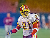 Washington Redskins defensive back Deion Sanders (21) participates in pre-game warm-ups before the Washington Redskins play the New York Giants at Giants Stadium in Wast Rutherford, New Jersey on September 24, 2000.  The Redskins won the game 16 - 6.<br /> Credit: Arnie Sachs / CNP