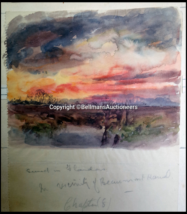 BNPS.co.uk (01202 558833)<br /> Pic: BellmansAuctioneers/BNPS<br /> <br /> Sunset in Flanders - Near Beaumont Hamel.<br /> <br /> A collection of beautiful First War watercolours that offer a fascinating glimpse into one man's life in the trenches has emerged for sale a century later.<br /> <br /> Talented artist Finlay Mackinnon, who exhibited multiple times at the prestigious Royal Academy, answered the call to sign up in 1914 and spent almost all of the First World War fighting in France.<br /> <br /> But in his free time on the front he did what he loved best, capturing life in the trenches and also the beauty of their bleak surroundings in his pictures.<br /> <br /> Bellmans Auctioneers, who are selling the album of artwork, know little about the provenance of the album, which is expected to fetch £4,000 at auction.