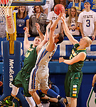 BROOKINGS, SD - FEBRUARY 14:  Cody Larson #34 from South Dakota State battles for the loose ball with Dexter Werner #40 and A.J. Jacobson #21 form North Dakota State in the first half of their game Saturday afternoon at Frost Arena. (Photo by Dave Eggen/Inertia)