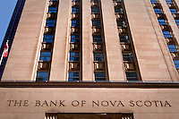 Bank of Nova Scotia offices is seen in Toronto financial district April 19, 2010. The Bank of Nova Scotia,  commonly called Scotiabank in English and Banque Scotia in French, is the third largest bank in Canada by deposits and market capitalization.