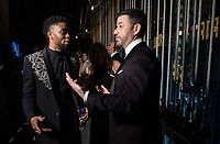Chadwick Boseman and Jimmy Kimmel chat backstage during the live ABC Telecast of The 90th Oscars&reg; at the Dolby&reg; Theatre in Hollywood, CA on Sunday, March 4, 2018.<br /> *Editorial Use Only*<br /> CAP/PLF/AMPAS<br /> Supplied by Capital Pictures