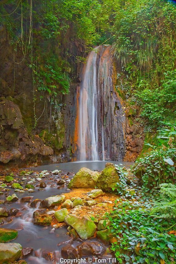 Diamond Waterfall, Diamond Botanical Gardens, St. Lucia, Caribbean Sea, Lesser Antilles