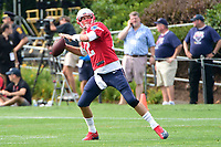 August 2, 2017: New England Patriots quarterback Tom Brady (12) throws a pass at the New England Patriots training camp held at Gillette Stadium, in Foxborough, Massachusetts. Eric Canha/CSM