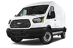 Stock pictures of low aggressive front three quarter view of a 2018 Ford Transit 250 Van Med Roof Sliding Pass. 130 WB 2 Door Van Low Aggressive