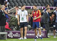 Samir NASRI / Cesc FABREGAS  avant le match   - 23.06.2012 - Espagne / France -1/4 Finale Euro 2012 .Photo : Amandine Noel / Icon Sport.