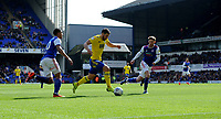 Birmingham City's Lukas Jutkiewicz battles with Ipswich Town's Myles Kenlock and Teddy Bishop<br /> <br /> Photographer Hannah Fountain/CameraSport<br /> <br /> The EFL Sky Bet Championship - Ipswich Town v Birmingham City - Saturday 13th April 2019 - Portman Road - Ipswich<br /> <br /> World Copyright © 2019 CameraSport. All rights reserved. 43 Linden Ave. Countesthorpe. Leicester. England. LE8 5PG - Tel: +44 (0) 116 277 4147 - admin@camerasport.com - www.camerasport.com