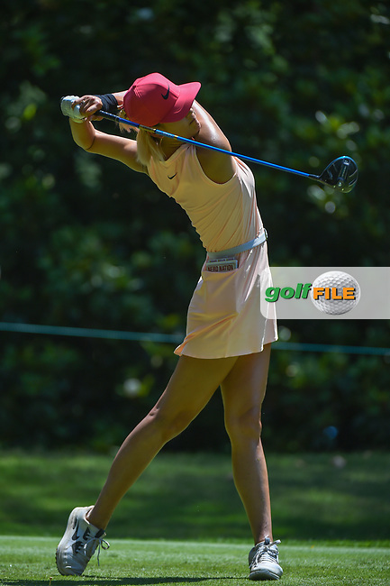 Michelle Wie (USA) watches her tee shot on 3 during round 4 of the U.S. Women's Open Championship, Shoal Creek Country Club, at Birmingham, Alabama, USA. 6/3/2018.<br /> Picture: Golffile | Ken Murray<br /> <br /> All photo usage must carry mandatory copyright credit (© Golffile | Ken Murray)