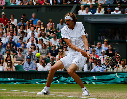 03.07.2016. All England Lawn Tennis and Croquet Club, London, England. The Wimbledon Tennis Championships Middle Sunday. Number 24 seed Alexander Zverev (GER). Number 24 seed Alexander Zverev (GER) hits a backhand during his singles match against number 10 seed Tomas Berdych (CZE).