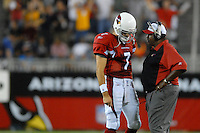 Oct. 16, 2006; Glendale, AZ, USA; Arizona Cardinals quarterback (7) Matt Leinart with head coach Dennis Green against the Chicago Bears at University of Phoenix Stadium in Glendale, AZ. Mandatory Credit: Mark J. Rebilas