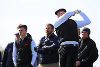 Conor Gough (GB&I) and Harry Hall (GB&I) on the 14th tee during the preview round at the Walker Cup, Royal Liverpool Golf CLub, Hoylake, Cheshire, England. 06/09/2019.<br /> Picture Thos Caffrey / Golffile.ie<br /> <br /> All photo usage must carry mandatory copyright credit (© Golffile | Thos Caffrey)
