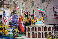 A float celebrating Zoroastria in the 11th annual Persian Parade on Madison Ave. in New York on Sunday, April 13, 2014. The parade celebrates Nowruz, New Year in the Farsi language. The holiday symbolizes the purification of the soul and dates back to the pre-Islamic religion of Zoroastrianism. (© Richard B. Levine)