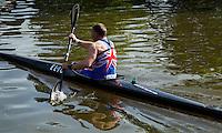 26 MAY 2013 - BRIGG, GBR - Keith Longney (Masters 50) of BQA starts the kayak leg of the 2013 Brigg Bomber Quadrathlon, a World Quadrathlon Federation World Cup round and the British Championships, held in Brigg in Lincolnshire, Great Britain .(PHOTO (C) 2013 NIGEL FARROW)