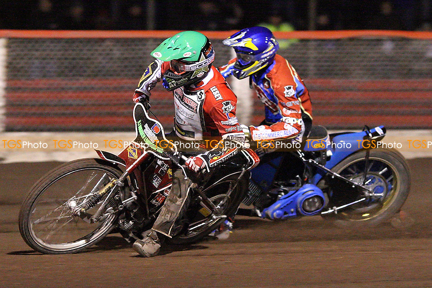 Heat 9: Daniel King (green) ahead of Jonas Davidsson - Lakeside Hammers vs Peterborough Panthers - Craven Shield Speedway at Arena Essex - 28/03/08 - MANDATORY CREDIT: Gavin Ellis/TGSPHOTO. Self-Billing applies where appropriate. NO UNPAID USE. Tel: 0845 094 6026