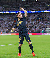 Bernardo Silva of Monaco celebrates his goal during the UEFA Champions League Group stage match between Tottenham Hotspur and Monaco at White Hart Lane, London, England on 14 September 2016. Photo by Andy Rowland.