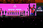 Bahrain-Merida on stage at the Teams Presentation held in Piazza Maggiore Bologna before the start of the 2019 Giro d'Italia, Bologna, Italy. 9th May 2019.<br /> Picture: Massimo Paolone/LaPresse | Cyclefile<br /> <br /> All photos usage must carry mandatory copyright credit (&copy; Cyclefile | Massimo Paolone/LaPresse)