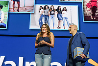 NWA Democrat-Gazette/CHARLIE KAIJO Sofía Vergara reacts also shown while on stage with President and CEO, Walmart eCommerce U.S. Marc Lore during the Walmart shareholders meeting, Friday, June 7, 2019 at the Bud Walton Arena in Fayetteville.