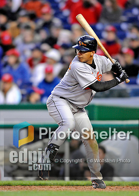 29 March 2008: Baltimore Orioles' infielder Luis Hernandez at bat during an exhibition game against the Washington Nationals at Nationals Park, in Washington, DC. The matchup was the first professional baseball game played in the new Nationals Park, prior to the upcoming official opening day inaugural game. The Nationals defeated the Orioles 3-0...Mandatory Photo Credit: Ed Wolfstein Photo