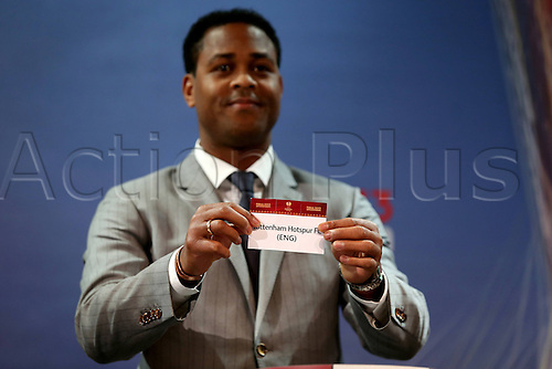 15.03.2013. Nyon, Switzerland. The Europa League quarter final drawing.  Tottenham Hotspur (Eng) is drawn from the pot by Patrick Kluivert  to play FC Basel
