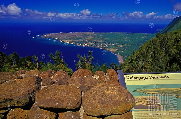 View towards Kalaupapa Peninsula from Palau State Park overlook. Molokai
