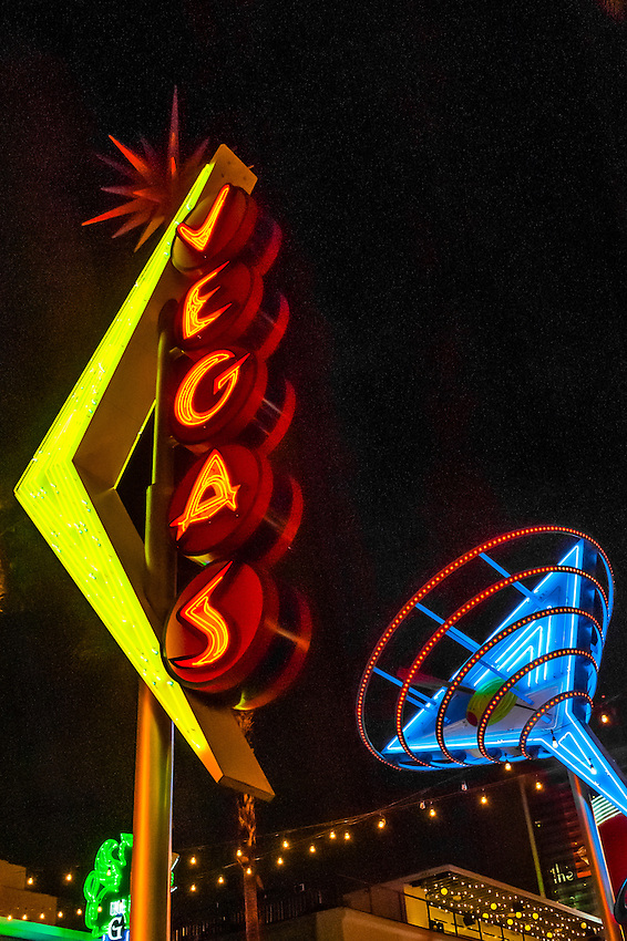 Vegas and Martini Glass neon signs, Downtown Las Vegas, Nevada USA.