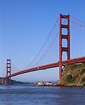 Golden Gate National Recreation Area, CA<br /> Morning sun on the Golden Gate Bridge from Fort Baker