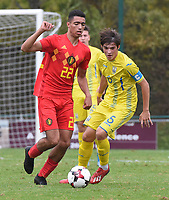 20190927 - WOLVERTEM , BELGIUM : Belgian Sami Sakkali (L) and Ukraine's Andrii Buleza (R) pictured during the friendly  soccer match between  under 16 teams of  Belgium and Ukraine , in Wolvertem , Belgium . Thursday 26 th September 2019 . PHOTO SPORTPIX.BE / DIRK VUYLSTEKE