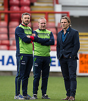 Coach Barry Richardson (left), Assistant Manager Richard Dobson (centre) & Wycombe Wanderers Manager Gareth Ainsworth ahead of the Sky Bet League 2 match between Leyton Orient and Wycombe Wanderers at the Matchroom Stadium, London, England on 1 April 2017. Photo by Andy Rowland.