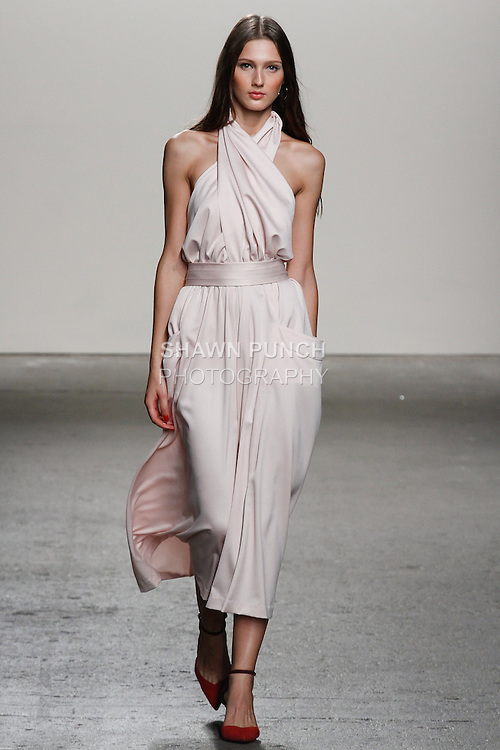 Model walks runway in an outfit from Daisy Fuentes Spring Summer 2014 fashion show, during New York Fashion Week Spring 2014, on September 11, 2013.