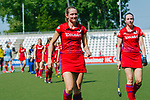 GER - Mannheim, Germany, May 05: During the women field hockey 1. Bundesliga match between Mannheimer HC (red) and Uhlenhorster HC Hamburg (light blue) on May 5, 2018 at Am Neckarkanal in Mannheim, Germany. Final score 1-3. (Photo by Dirk Markgraf / www.265-images.com) *** Local caption *** (L-R) Cecile Pieper #3 of Mannheimer HC, Maxi Pohl #6 of Mannheimer HC