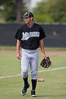 Steven Stein of the Gulf Coast League Marlins at the Osceola Heritage Park in Kissimmee, Florida July 22 2010. Photo By Scott Jontes/Four Seam Images