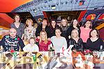 SFX fitness club Christmas party at Ristorante Uno on FridayFront l-r David McElligott,, Chloe McElligott, Kim Enright,  Sheila Sexton, orla Ferris, Breda Daly, Back l-r Corinne Prior, Nóirín O dårlig, Liz O'Gorman, Sabrina Caffrey, Siobhan Kirwan, Mary Horgan, Michelle Maloney