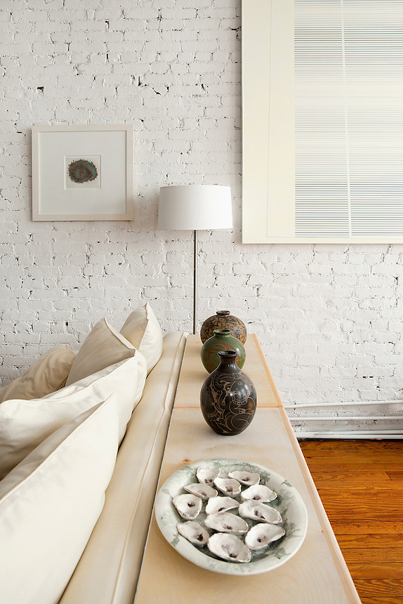 white brick wall in the living room