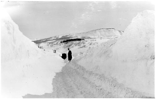 Cut through snow drift.<br /> D&amp;RGW  Cumbres, CO  Taken by Mollette, Erskine (Rex)