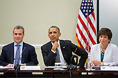 From left, Jeffrey Zients, Director of the National Economic Council and Assistant to the President for Economic Policy, United States President Barack Obama, and  advisor Valerie Jarrett, and Maria Contreras-Sweet, Administrator of the Small Business Administration, meet with company executives and their small business suppliers, in the Eisenhower Executive Office Building in Washington, D.C., July 11, 2014.  The President planned to announce the creation of 'SupplierPay,' a new partnership with the private sector aimed at strengthening small businesses by increasing their working capital.<br /> Credit: Drew Angerer / Pool via CNP