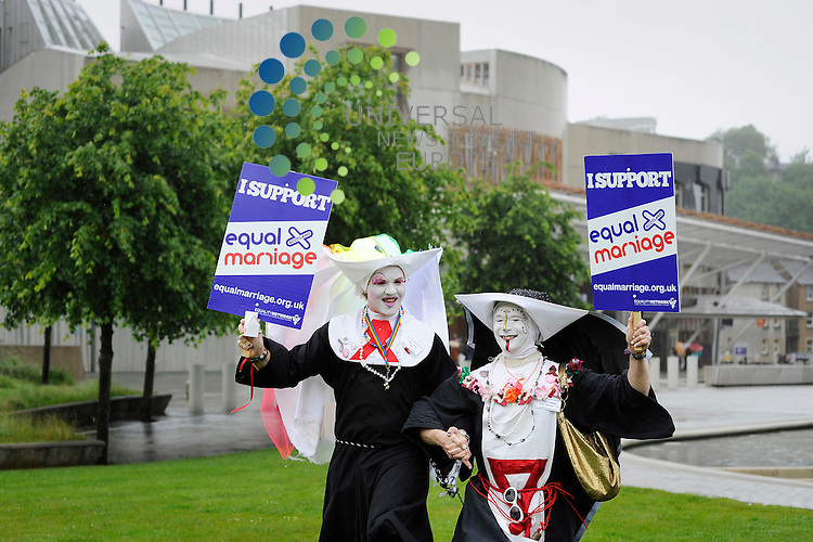 Rally in support of same sex marriage held outside the Scottish Parliament, Edinburgh Scotland, 9th July, 2012. Pictured Novice Ringa Fure and Sister Pronuptia of the Splattered Veil.Picture:Scott Taylor Universal News And Sport (Europe) .All pictures must be credited to www.universalnewsandsport.com. (Office)0844 884 51 22.