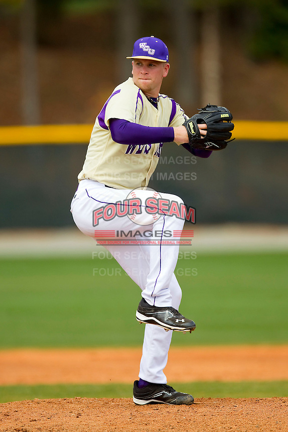 Western Carolina Catamounts starting pitcher Morgan McKinney (7) in action against the Davidson Wildcats at Wilson Field on March 10, 2013 in Davidson, North Carolina.  The Catamounts defeated the Wildcats 5-2.  (Brian Westerholt/Four Seam Images)