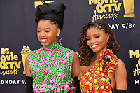 Chloe X Halle at the 2018 MTV Movie &amp; TV Awards at the Barker Hanger, Santa Monica, USA 16 June 2018<br /> Picture: Paul Smith/Featureflash/SilverHub 0208 004 5359 sales@silverhubmedia.com