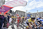 The start of Stage 1 of Il Giro di Sicilia running 165km from Catania to Milazzo, Italy. 3rd April 2019.<br /> Picture: LaPresse/Fabio Ferrari | Cyclefile<br /> <br /> <br /> All photos usage must carry mandatory copyright credit (© Cyclefile | LaPresse/Fabio Ferrari)