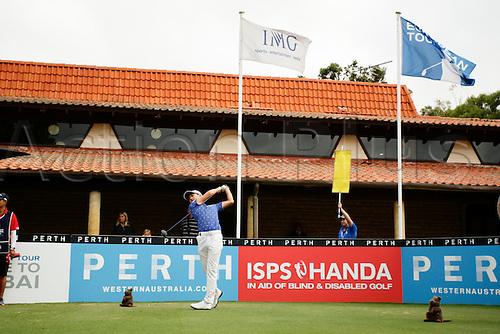28.02.2016. Perth, Australia. ISPS HANDA Perth International Golf. Jeunhung Wang (KOR) tees off for his final round.