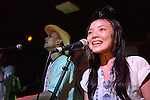 Kaohsiung, Taiwan -- Alicia Lin of LA CUMBIA DEL SOL on stage at at the Paramount Bar on July 06, 2014.