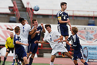 Mishawaka Marian and Providence players compete for a free kick in the box during the IHSAA Class A Boys Soccer State Championship Game on Saturday, Oct. 29, 2016, at Carroll Stadium in Indianapolis. Marian won 4-0. Special to the Tribune/JAMES BROSHER