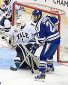 Ryan Rondeau (Yale - 1), Jacques Lamoureux (Air Force - 21) - The Yale University Bulldogs defeated the Air Force Academy Falcons 2-1 (OT) in their East Regional Semi-Final matchup on Friday, March 25, 2011, at Webster Bank Arena at Harbor Yard in Bridgeport, Connecticut.