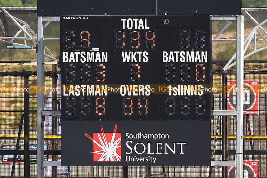 The scoreboard shows that Essex are 134 for 7 wickets, chasing 606 runs to win - Hampshire CCC vs Essex CCC - LV County Championship Division Two Cricket at the Ageas Bowl, West End, Southampton - 17/06/14 - MANDATORY CREDIT: Gavin Ellis/TGSPHOTO - Self billing applies where appropriate - 0845 094 6026 - contact@tgsphoto.co.uk - NO UNPAID USE