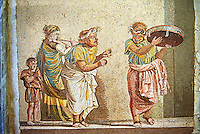 Roman mosaic of a scene from Meanders comedy Theophoroumene(the passed girl) with musical hawkers by Dioscurides of Samos. Pompeii from the so-called Villa of Cicero, Inv 9985, Naples Archaeological Musum, Italy