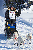 Jim Lanier on Long Lake at the Re-Start of the 2012 Iditarod Sled Dog Race