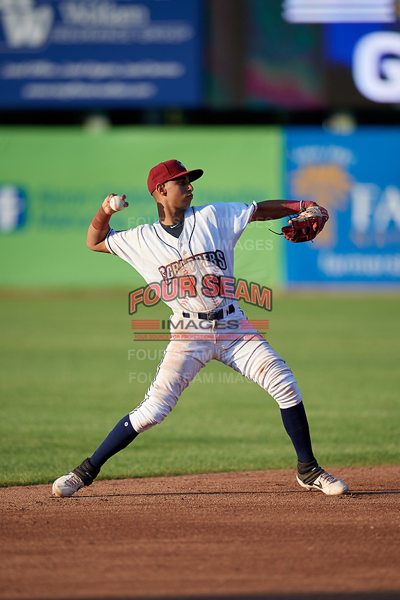 Mahoning Valley Scrappers Brayan Rocchio (11) warms up during a NY-Penn League game against the Hudson Valley Renegades on July 15, 2019 at Eastwood Field in Niles, Ohio.  Mahoning Valley defeated Hudson Valley 6-5.  (Mike Janes/Four Seam Images)