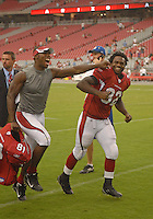 Aug 18, 2007; Glendale, AZ, USA; Arizona Cardinals wide receiver Anquan Boldin (81) jokes with running back Edgerrin James (32) following the game against the Houston Texans at University of Phoenix Stadium. Mandatory Credit: Mark J. Rebilas-US PRESSWIRE Copyright © 2007 Mark J. Rebilas