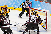 Justin Kloos (MN - 25) puts Minnesota on the board first. - The Union College Dutchmen defeated the University of Minnesota Golden Gophers 7-4 to win the 2014 NCAA D1 men's national championship on Saturday, April 12, 2014, at the Wells Fargo Center in Philadelphia, Pennsylvania.
