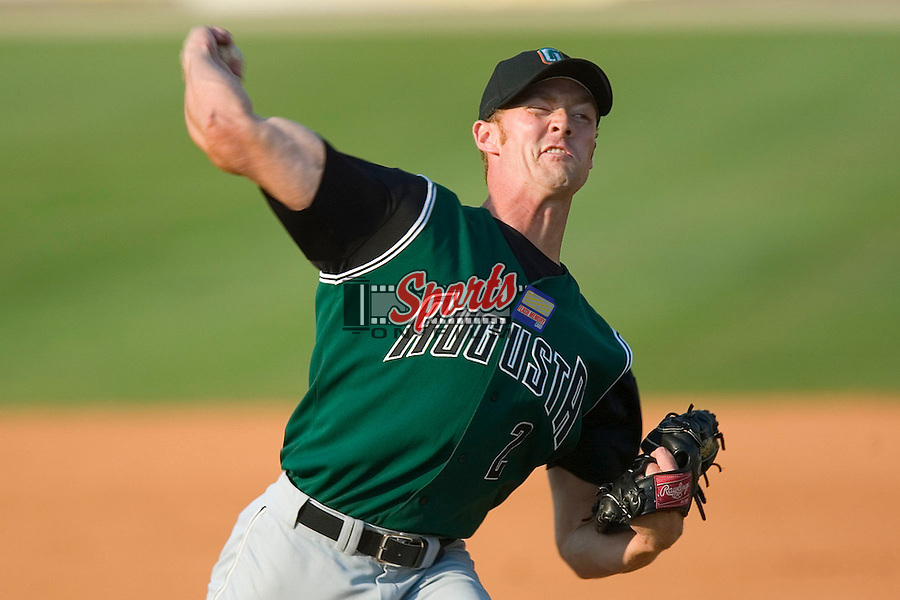 Augusta Green Jackets relief pitcher Dave McKae winds up to deliver the ball to the plate versus the Kannapolis Intimidators at Fieldcrest Cannon Stadium in Kannapolis, NC, Sunday, June 18, 2006.